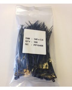 Kompress KCT140-3.6BL Cable Ties 140 x 3.6mm Pack of 100 Black