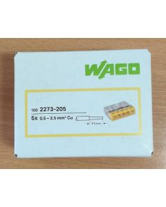 WAGO 2273-205 Connector, Push-Wire 5 Conductor, for Junction Boxes ( Box of 100)