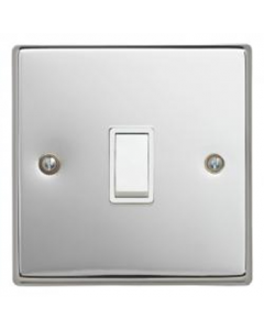 Contactum S3712PCW 1 Gang 2 Way 10AX Switch - Polished Chrome, White Insert