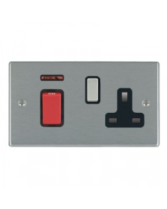 Hamilton Hartland 7445SS1SS-B Rocker Red 1 gang DP Switch 45A and 13A Switched Socket Black Insert