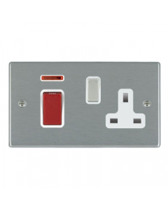 Hamilton Hartland 7445SS1SS-W Rocker Red 1 gang DP Switch 45A and 13A Switched Socket White Insert
