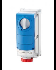 Gewiss GW66532 Watertight Vertical Interlock Socket with Bottom outlet, 3P+N+E, 63A 380V, IP66