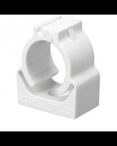 Mita UK25W Conduit fixing clips CLIC Self Locking for Rigid Conduit 25mm White