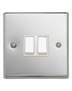 Contactum S3722PCW 2 Gang 2 Way 10AX Switch - Polished Chrome, White Insert