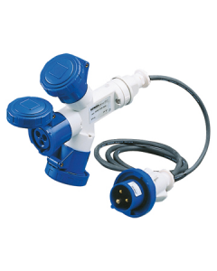 Gewiss GW64052 Multiple Socket Couplers, 3 Outputs IP67, 2m Flexible Cable, Plug 16A, 3 Socket Outlets 2P+E 230V 50/60HZ 6H, Blue