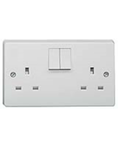 Crabtree 4306 White Moulded 13A 2 Gang Single Pole Switched Socket Outlet - Buy online from Sparkshop