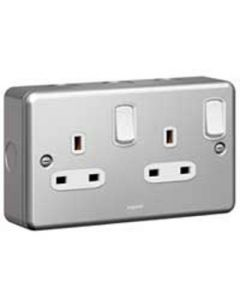 Legrand Synergy 733870 Socket, 2 Gang Switched DP, Size: 13A