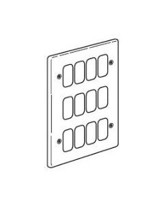 Legrand 833185 3x2 Gang 12 Module 207x146mm Small Aperture Frontplate in Brushed Steel - Buy online from Sparkshop