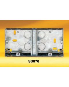 Appleby SB676 Flush Steel Installation Box, Dual box Fixed Lugs (2 x 1 Gang), 25mm deep