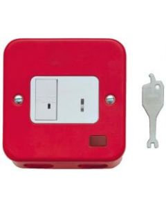 Contactum 3467MR Red 13A DP Key Switch Spur Connection Unit with Neon, Surface Back Box - Metalclad Red, White Insert & Recessed Key Switch.
