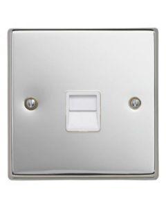 Contactum S3169PCW Telephone Master Socket - Polished Chrome, White Insert