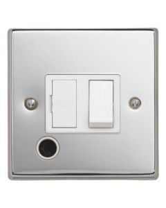 Contactum S3368PCW 13A DP Switched Connection Unit with Flex Outlet - Polished Chrome, White Insert