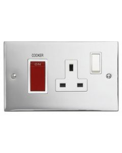 Contactum S3456PCW 45A DP Red Cooker Switch + 13A Switched Socket - Polished Chrome, White Insert
