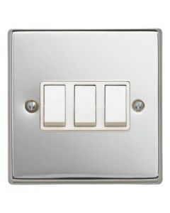 Contactum S3732PCW 3 Gang 2 Way 10AX Switch - Polished Chrome, White Insert
