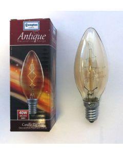 240V 40W SES/E14 Candle Antique Decorative Lamp