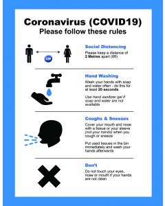 CVWPB Coronavirus COVID19 Good Practice Instruction Window Poster A4 Blue - Buy online from Sparkshop