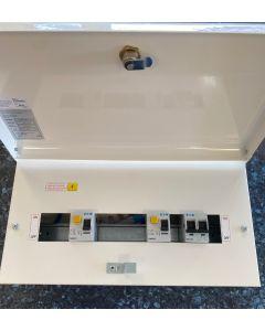 Eaton MEM Memera EAS10H63H63DS 10 way Metal Consumer Unit Dual RCD 30mA 63A + 63A complete with 8 MCBs