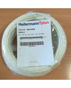 HellermannTyton GSS3, Glass Braided Sleeving, Bore 3mm, Coil 25m