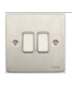 Schneider GU1222WSS Ultimate Flat plate - 2-way plate switch - 2 gangs - stainless steel