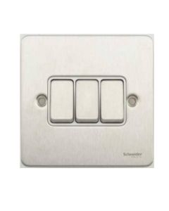 Schneider GU1232WSS Ultimate Flat plate - 1-pole 2-way plate switch - 3 gangs - stainless steel