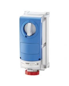 Gewiss GW66520 Watertight Vertical Interlock Socket with bottom outlet, 3P+N+E, 32A, 380V, 6H, IP66