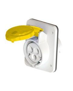 Gewiss GW62201H 3 Pin 10° Flush Socket Outlet HP, IP44, 2P+E, 16A, 110V, 4H Screw Terminals