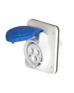 Gewiss GW62205H 3 Pin 10° Flush Socket Outlet HP, IP44, 2P+E, 16A, 230V, 6H Screw Terminals