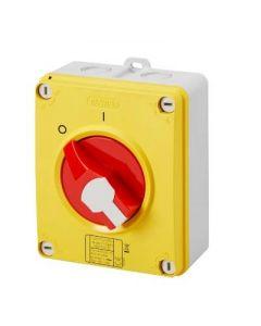 Gewiss GW70436P Switch, Isolator Rotary 4P Emergency IP69, Insulated Box c/w Lockable Knob, Size: 32A 125x150x75.5mm