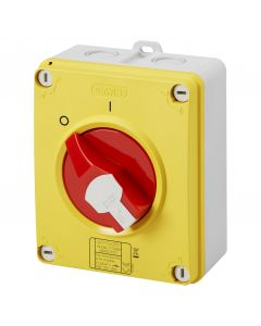 Gewiss GW70442P 40A 3 Pole IP66/67/69 HP Isolating Material Box Emergency Isolator with Lockable Red Knob - Buy online from Sparkshop