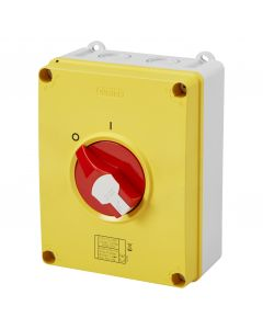 Gewiss GW70490P Isolator HP Emergency 80A 4P IP66/67/69 Isolating Material Box with Lockable Red Knob - Buy online from Sparkshop