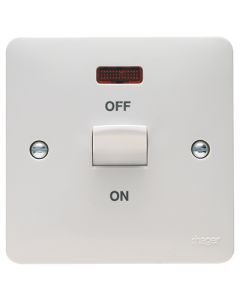 Hager Sollysta WMDP50N White Moulded 50A Double Pole Switch 1 Gang with LED Indicator