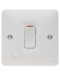Hager Sollysta WMDP84FO White Moulded 20A Double Pole Switch with Flex Outlet