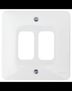 Hager Sollysta WMGP2 2 Gang White Moulded Grid Plate