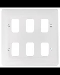 Hager Sollysta WMGP6 6 Gang White Moulded Grid Plate