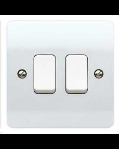MK Logic K4872WHI 2 Gang 10A 2 Way SP Plate Switch