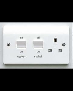 MK Logic K5060WHI 13A Cooker Control Switch, DP Main Switch & Socket, Flush