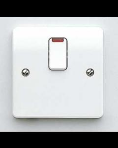 Mk Logic K5423WHI 20A Switch, DP c/w Neon Base Flex Outlet