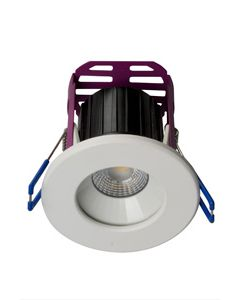 Robus LED RRA084060-01 RAMADA 8.5W Fire Rated Downlight 4000K, 60° beam angle,IP65, dim, c/w White and Brushed Chrome trim