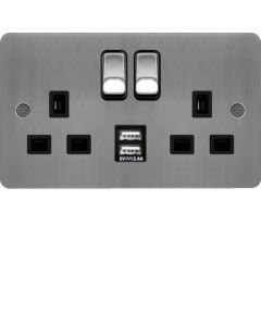 Hager WFSS82BSB-USBS 13A 2 Gang Double Pole Flat Plate Switched Socket c/w Twin USB Ports Brushed Steel Black Insert  - available online from SparkShop