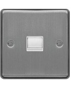 Hager WRBTMBSW Master Telephone Socket Brushed Steel White Insert
