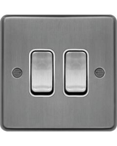 Hager WRPS22BSW 10AX 2 Gang 2 Way Wall Switch Brushed Steel White Insert