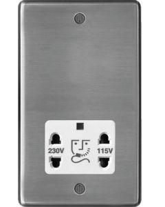 Hager WRSO100BSW 115/230V Shaver Outlet Brushed Steel White Insert