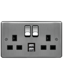 Hager WRSS82BSB-USBS 13A 2 Gang Double Pole Raised Plate Switched Socket c/w Twin USB Ports Brushed Steel Black Insert