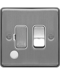 Hager WRSSU83FOBSW 13A FCU Switched with Flex Outlet Brushed Steel White Insert