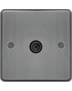 Hager WRTVFBSB Socket, TV Single Female, Black Insert, Size: 24x86x86mm